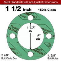 "C-4401 Green N/A NBR Full Face Gasket - 150 Lb. - 1/16"" Thick - 1-1/2"" Pipe"