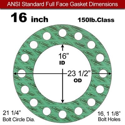 "C-4401 Green N/A NBR Full Face Gasket - 150 Lb. - 1/16"" Thick - 16"" Pipe"
