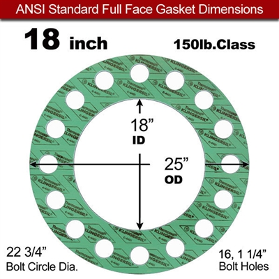 "C-4401 Green N/A NBR Full Face Gasket - 150 Lb. - 1/16"" Thick - 18"" Pipe"