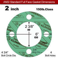 "C-4401 Green N/A NBR Full Face Gasket - 150 Lb. - 1/16"" Thick - 2"" Pipe"