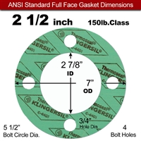 "C-4401 Green N/A NBR Full Face Gasket - 150 Lb. - 1/16"" Thick - 2-1/2"" Pipe"