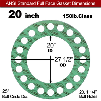 "C-4401 Green N/A NBR Full Face Gasket - 150 Lb. - 1/16"" Thick - 20"" Pipe"