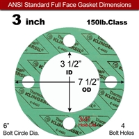 "C-4401 Green N/A NBR Full Face Gasket - 150 Lb. - 1/16"" Thick - 3"" Pipe"