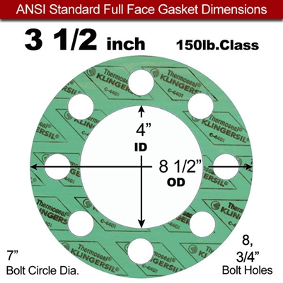 "C-4401 Green N/A NBR Full Face Gasket - 150 Lb. - 1/16"" Thick - 3-1/2"" Pipe"