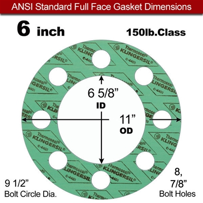 "C-4401 Green N/A NBR Full Face Gasket - 150 Lb. - 1/16"" Thick - 6"" Pipe"