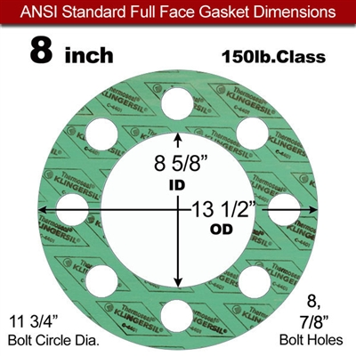 "C-4401 Green N/A NBR Full Face Gasket - 150 Lb. - 1/16"" Thick - 8"" Pipe"