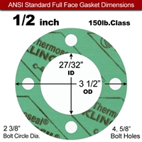 "C-4401 Green N/A NBR Full Face Gasket - 150 Lb. - 1/8"" Thick - 1/2"" Pipe"