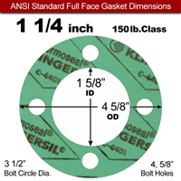 "C-4401 Green N/A NBR Full Face Gasket - 150 Lb. - 1/8"" Thick - 1-1/4"" Pipe"