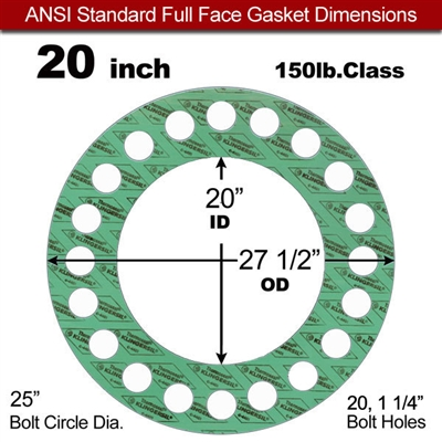 "C-4401 Green N/A NBR Full Face Gasket -150 lb. - 1/8"" Thick - 20"""