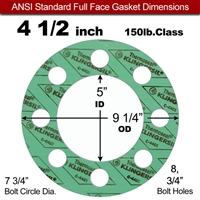 "C-4401 Green N/A NBR Full Face Gasket - 150 Lb. - 1/8"" Thick - 4-1/2"" Pipe"