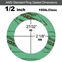 "C-4401 Green N/A NBR Ring Gasket - 150 Lb. - 1/16"" Thick - 1/2"" Pipe"