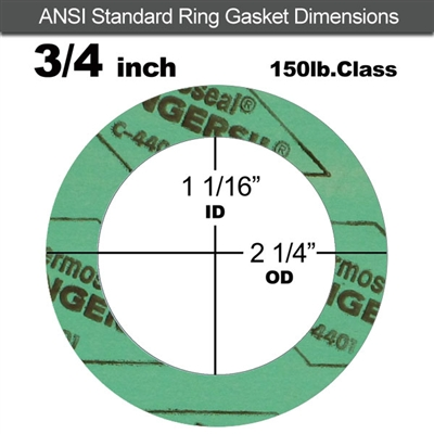 "C-4401 Green N/A NBR Ring Gasket - 150 Lb. - 1/16"" Thick - 3/4"" Pipe"