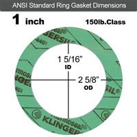 "C-4401 Green N/A NBR Ring Gasket - 150 Lb. - 1/16"" Thick - 1"" Pipe"