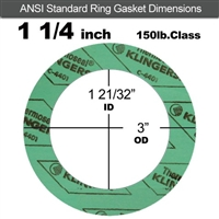 "C-4401 Green N/A NBR Ring Gasket - 150 Lb. - 1/16"" Thick - 1-1/4"" Pipe"
