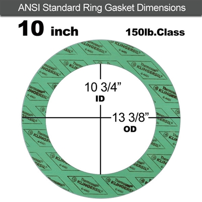 "C-4401 Green N/A NBR Ring Gasket - 150 Lb. - 1/16"" Thick - 10"" Pipe"