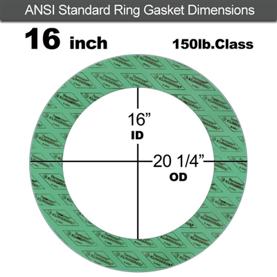 "C-4401 Green N/A NBR Ring Gasket - 150 Lb. - 1/16"" Thick - 16"" Pipe"