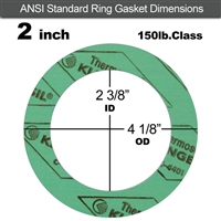 "C-4401 Green N/A NBR Ring Gasket - 150 Lb. - 1/16"" Thick - 2"" Pipe"