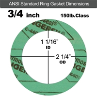 "C-4401 Green N/A NBR Ring Gasket - 150 Lb. - 1/8"" Thick - 3/4"" Pipe"