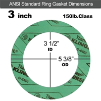 "C-4401 Green N/A NBR Ring Gasket - 150 Lb. - 1/8"" Thick - 3"" Pipe"