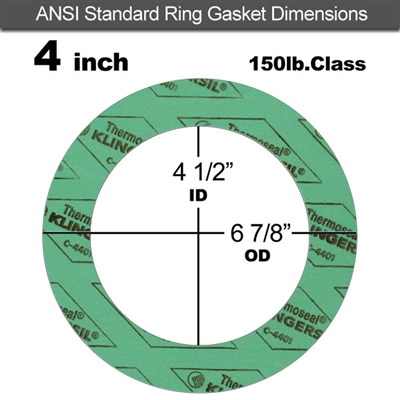 "C-4401 Green N/A NBR Ring Gasket - 150 Lb. - 1/8"" Thick - 4"" Pipe"