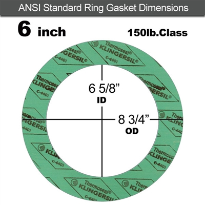 "C-4401 Green N/A NBR Ring Gasket - 150 Lb. - 1/8"" Thick - 6"" Pipe"