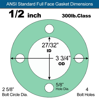 "Equalseal EQ750G Full Face Gasket - 300 Lb. Class - 1/16"" - 1/2"" Pipe Size"