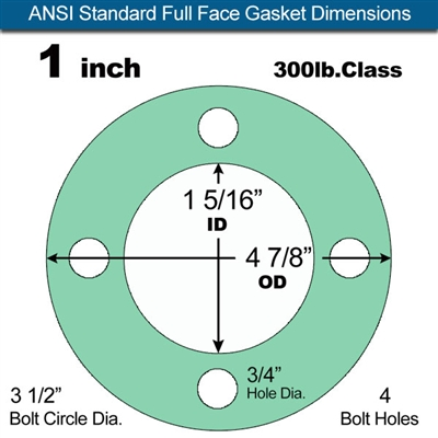 "Equalseal EQ750G Full Face Gasket - 300 Lb. Class - 1/16"" - 1"" Pipe Size"