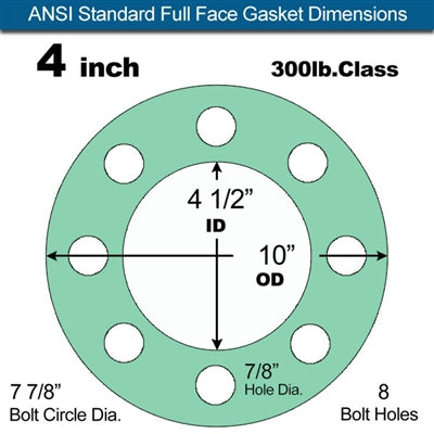 "Equalseal EQ750G Full Face Gasket - 300 Lb. Class - 1/16"" - 4"" Pipe Size"