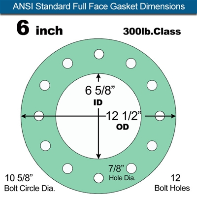 "Equalseal EQ750G Full Face Gasket - 300 Lb. Class - 1/16"" - 6"" Pipe Size"