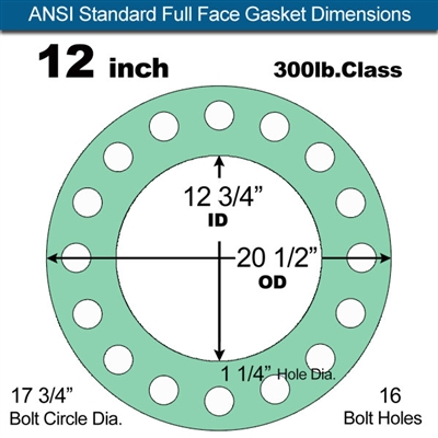 "Equalseal EQ750G Full Face Gasket - 300 Lb. Class - 1/16"" - 12"" Pipe Size"
