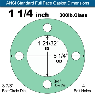 "Equalseal EQ750G Full Face Gasket - 300 Lb. Class - 1/8"" - 1 1/4"" Pipe Size"