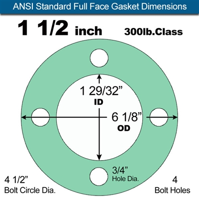 "Equalseal EQ750G Full Face Gasket - 300 Lb. Class - 1/8"" - 1 1/2"" Pipe Size"