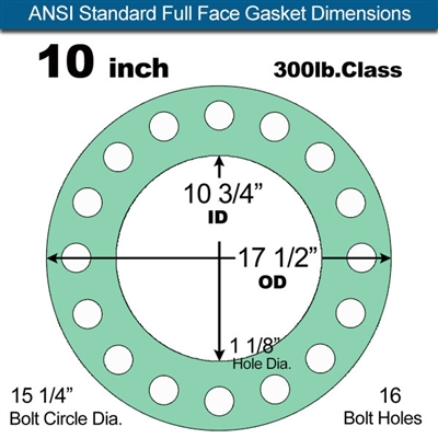 "Equalseal EQ750G Full Face Gasket - 300 Lb. Class - 1/8"" - 10"" Pipe Size"
