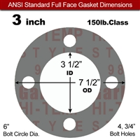"Garlock Style 9850 N/A NBR Full Face Gasket - 150 Lb. - 1/16"" Thick - 3"" Pipe"