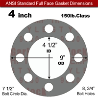 "Garlock Style 9850 N/A NBR Full Face Gasket - 150 Lb. - 1/16"" Thick - 4"" Pipe"