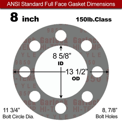 "Garlock Style 9850 N/A NBR Full Face Gasket - 150 Lb. - 1/16"" Thick - 8"" Pipe"