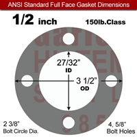 "Garlock Style 9850 N/A NBR Full Face Gasket - 150 Lb. - 1/8"" Thick - 1/2"" Pipe"