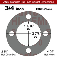 "Garlock Style 9850 N/A NBR Full Face Gasket - 150 Lb. - 1/8"" Thick - 3/4"" Pipe"