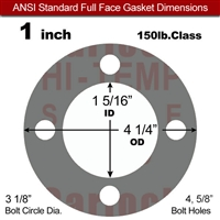 "Garlock Style 9850 N/A NBR Full Face Gasket - 150 Lb. - 1/8"" Thick - 1"" Pipe"
