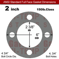 "Garlock Style 9850 N/A NBR Full Face Gasket - 150 Lb. - 1/8"" Thick - 2"" Pipe"