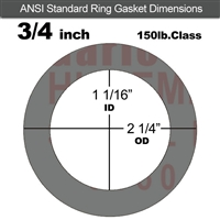 "Garlock Style 9850 N/A NBR Ring Gasket - 150 Lb. - 1/16"" Thick - 3/4"" Pipe"