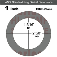 "Garlock Style 9850 N/A NBR Ring Gasket - 150 Lb. - 1/16"" Thick - 1"" Pipe"