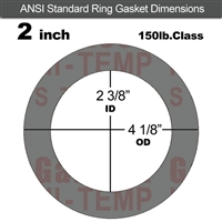"Garlock Style 9850 N/A NBR Ring Gasket - 150 Lb. - 1/16"" Thick - 2"" Pipe"