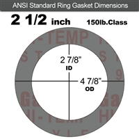"Garlock Style 9850 N/A NBR Ring Gasket - 150 Lb. - 1/16"" Thick - 2-1/2"" Pipe"