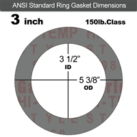 "Garlock Style 9850 N/A NBR Ring Gasket - 150 Lb. - 1/16"" Thick - 3"" Pipe"