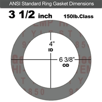 "Garlock Style 9850 N/A NBR Ring Gasket - 150 Lb. - 1/16"" Thick - 3-1/2"" Pipe"