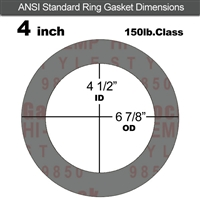 "Garlock Style 9850 N/A NBR Ring Gasket - 150 Lb. - 1/16"" Thick - 4"" Pipe"