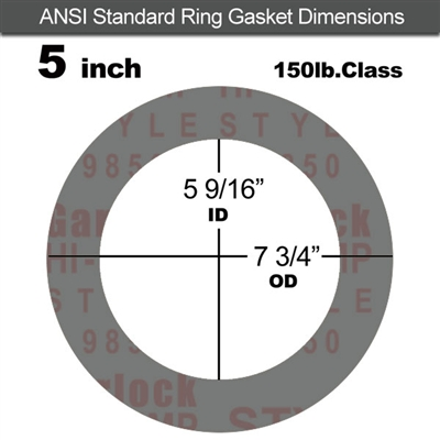 "Garlock Style 9850 N/A NBR Ring Gasket - 150 Lb. - 1/16"" Thick - 5"" Pipe"