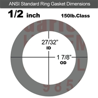 "Garlock Style 9850 N/A NBR Ring Gasket - 150 Lb. - 1/8"" Thick - 1/2"" Pipe"