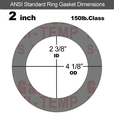 "Garlock Style 9850 N/A NBR Ring Gasket - 150 Lb. - 1/8"" Thick - 2"" Pipe"
